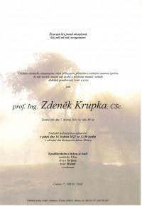 Nejbližší rozloučení - prof. Ing. Zdeněk Krupka, CSc.